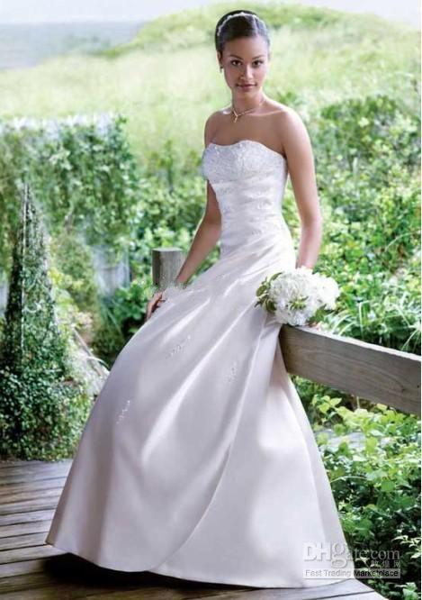 2019 new design A-line satin wedding dresses simple elegant lace-up bridal cheap price dresses in stock free shipping high quality