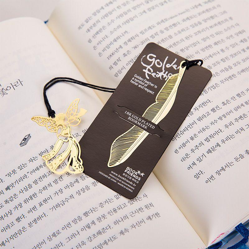Kreative Golden Lesezeichen mit Karten Metallbuch Mark Elegante Büroklammer-Markierungen Feder Engel Schreibwaren Büro Schulbedarf 122342