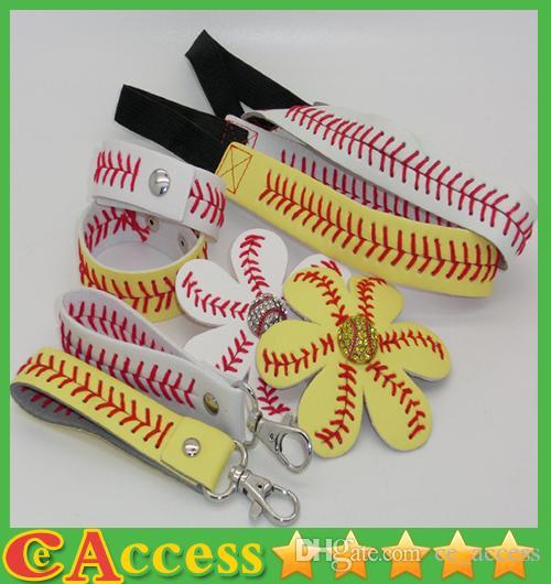 25pcs Baseball / Softballstirnband + 25pcsbaseball / Softballhaarbogen + 25pcs Baseball / Softball keychain + 25pcs Baseball / Softballarmband