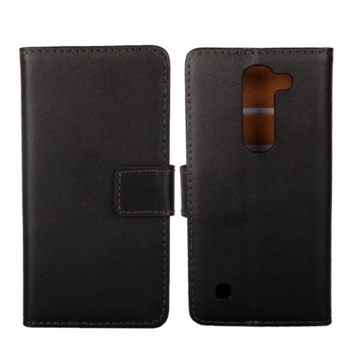 """Custodia pieghevole nera di protezione del libro del raccoglitore del cuoio genuino nero di 1pcs nuova per LG Spirit 4G LTE H440 (4,5 """") con il titolare della carta"""