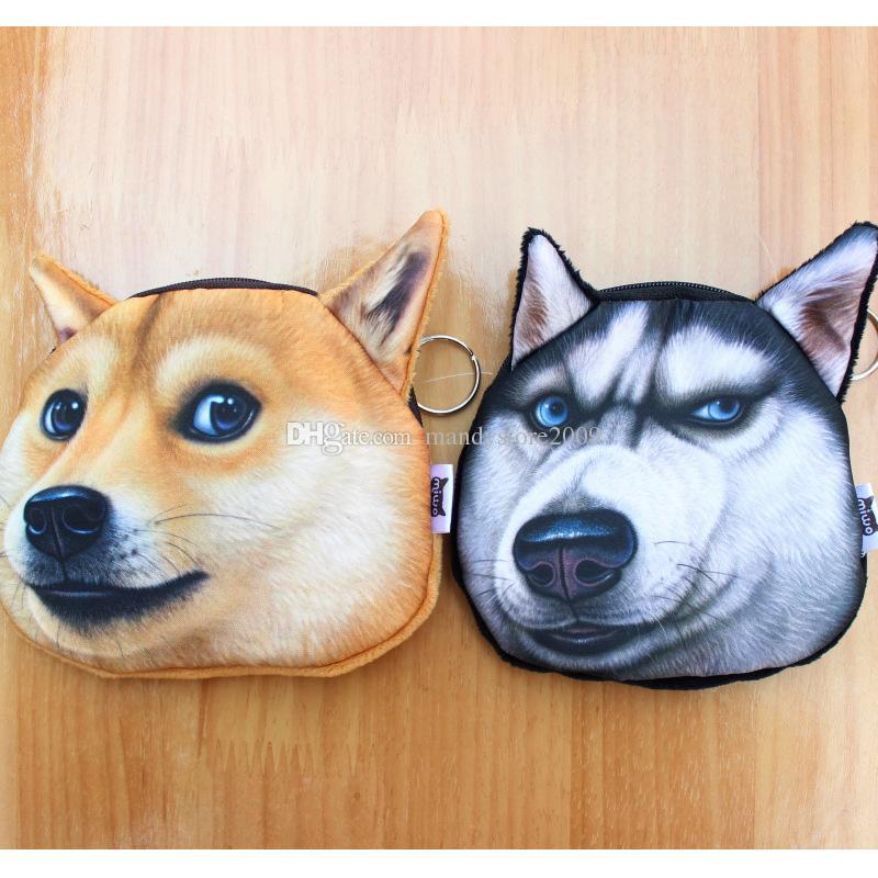 DHL 송료 무료 허스키 & 아키타 개 개성 개성 지갑 지갑 개 지퍼 지갑 키즈 지갑 3D 디지털 프린팅 지갑