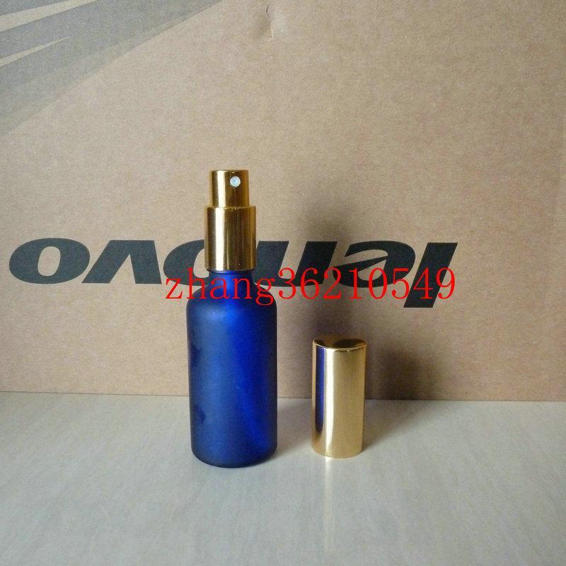 50ml 블루 광택 젖빛 유리 향수 병 알루미늄 반짝이 골드 안개 분무기. 향수 분무기 병 용기