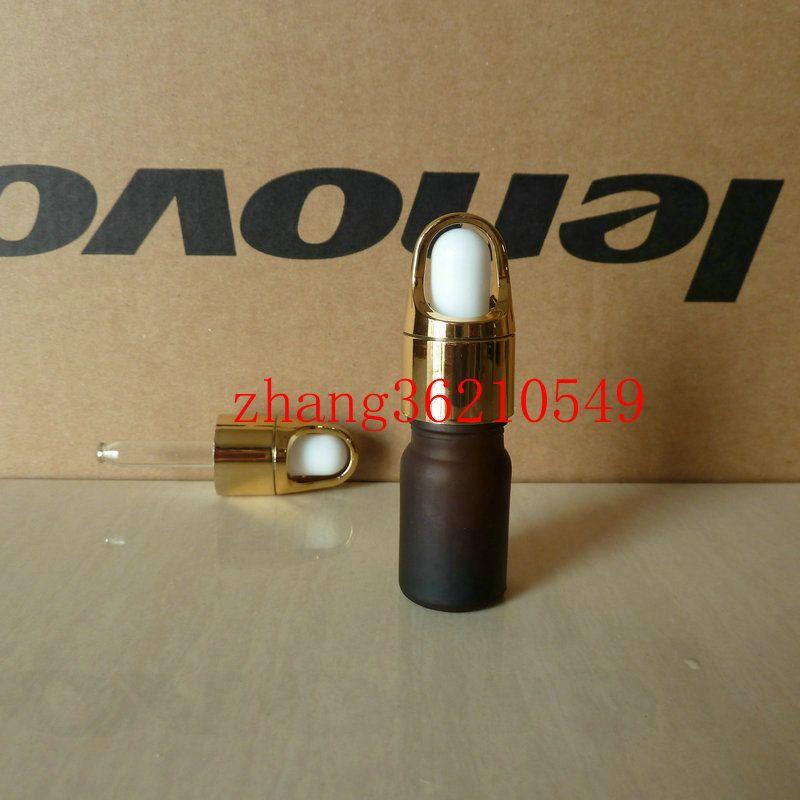 갈색 / 호박색 젖빛 유리 에센셜 오일 병 5ml 알루미늄 바구니 빛나는 골드 dropper cap.Oil 유리 병, 에센셜 오일 용기