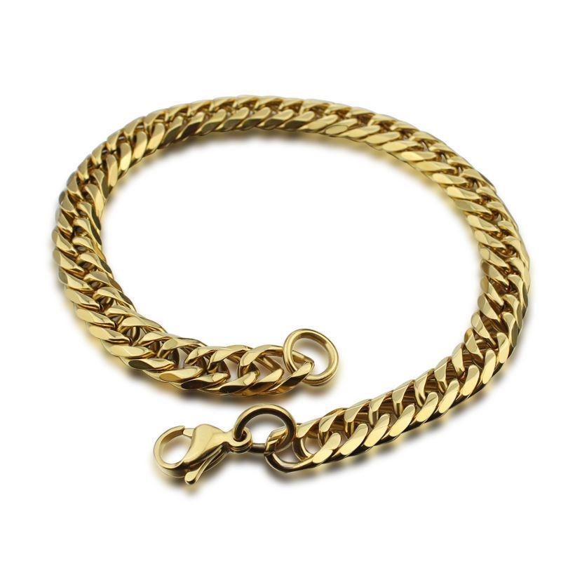 Vintage Filled Gold Chain Bracelets Chunky Rostfritt Stål Mäns Smycken Afrakian Smycken