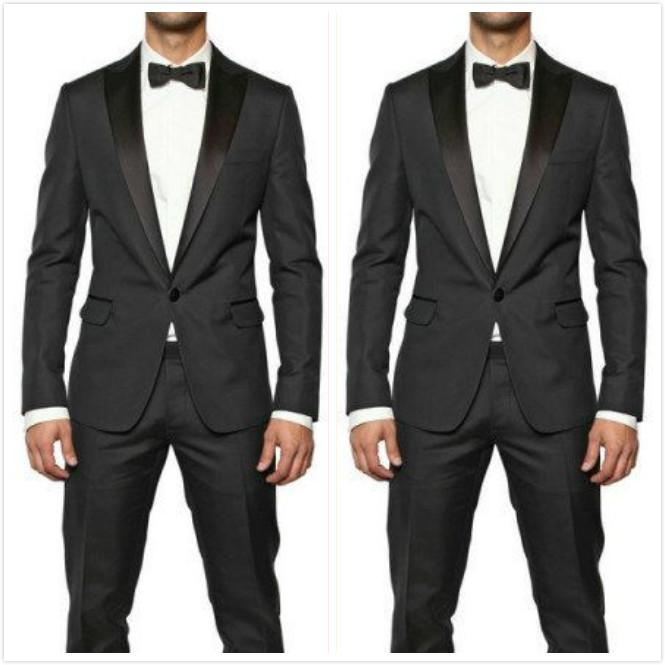 Slim Fit Wedding Tuxedos For Groom and Groomsmen Black Satin Peaked Lapel Prom Party Suits One Button Men Suits (Jacket+Pants+Bow Tie)
