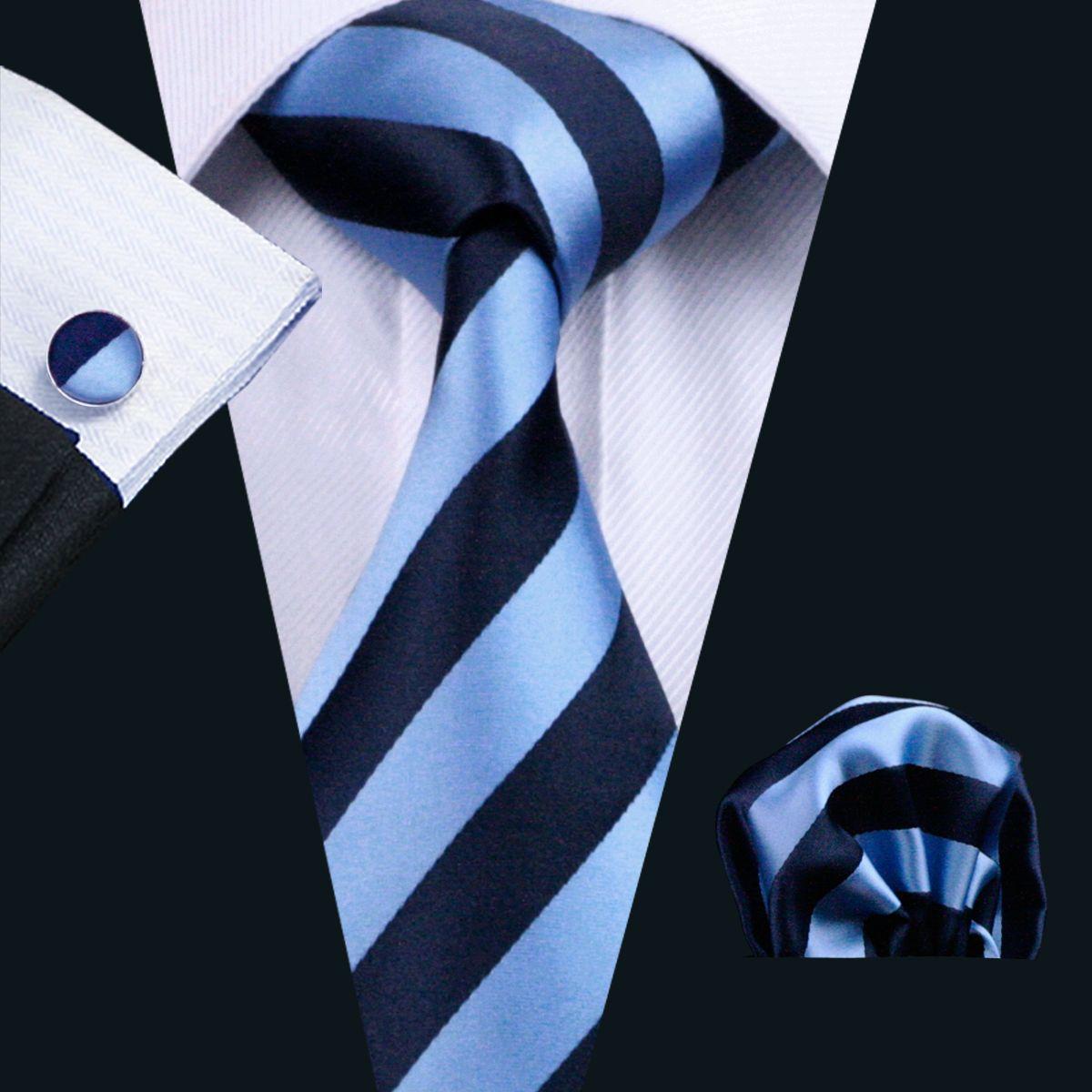Business Tie Set Blue Stripe Hanky Cufflinks Silk Jacquard Ties For Men Tie Woven Classic Necktie N-0285
