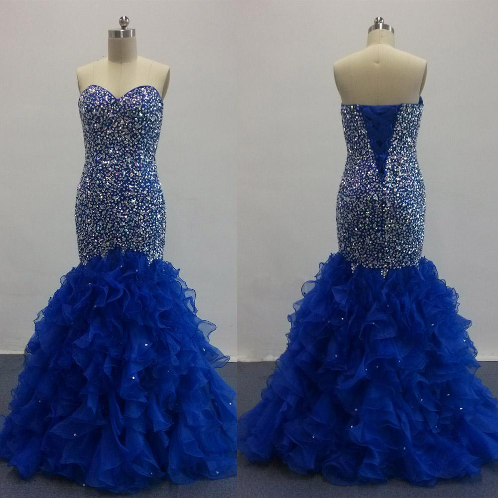 Royal Blue Prom Dresses 2016 Blingbling Mermaid With Beaded Bodice with Ruffled Organza Tulle Evening Dresses Real Images