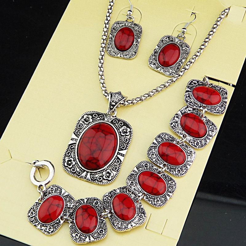 Grandes Promoções de Prata Antigo 3 pcs Quadrado Retângulo Vermelho Turquesa Colar Brincos Naturais Pulseira Jóias Vintage Set A1004