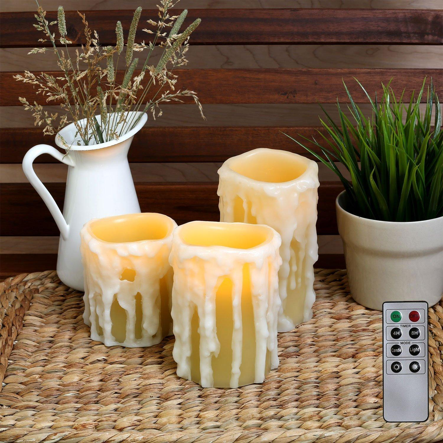 set of 3 drip pillar wax candles flameless candles in 3 sizes with auto timer - Flameless Candles With Timer