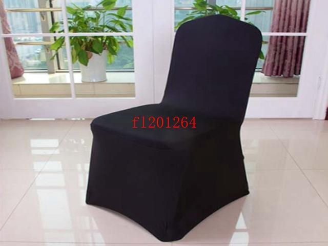 Fedex Бесплатная доставка Черный Spandex крышки стула Flat Фронт Свадеб отель украшения, 50шт / много