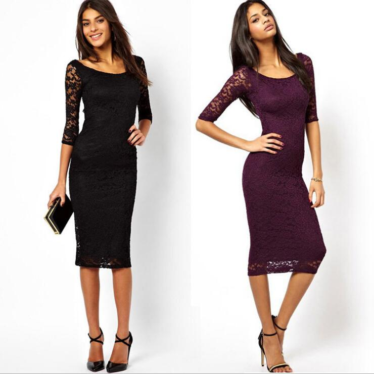 Новый 2016 Женская одежда весна американский дизайн О-образным вырезом сексуальный тонкий цельный кружевном платье с три четверти Bodycon повседневные платья для женщин