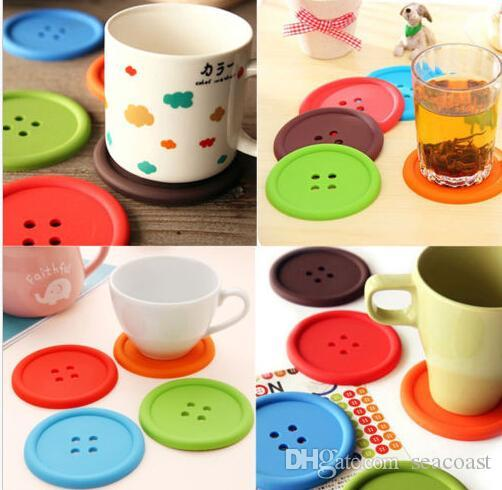 500pcs Silicone Button Coasters Cup Coaster Table Tea Mug Cushion placemat Cup Coaster Mat Pad Drinks holders 5 colors