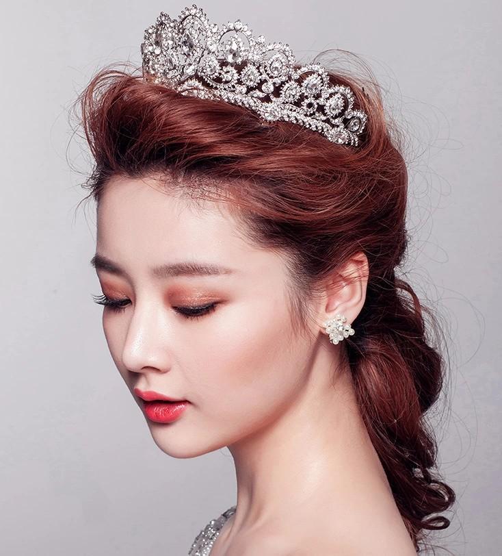 Külkedisi Lüks İmparatorluğu Prenses Kristal Rhinestone Düğün Taç Düğün Veils Parlak Gelin Takı Tiaras ve Saç Aksesuarları