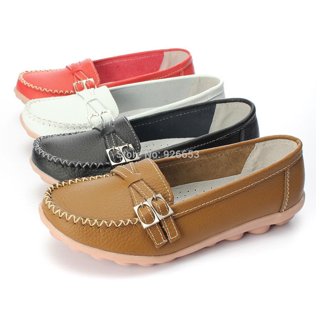 Las señoras del diseño más calientes para mujer zapatos de cuero de la PU Slip-on ballet mujeres pisos comodidad antideslizante zapatos femeninos 4 colores mocasines