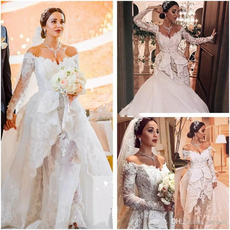 2018 New Zuhair Murad Wedding Dresses Off Shoulder Long Sleeves Vintage Appliques Lace Dubai Arabia Court Train Bridal Gowns Bridal Wedding Couture Wedding Gowns From Setwell 246 03 Dhgate Com