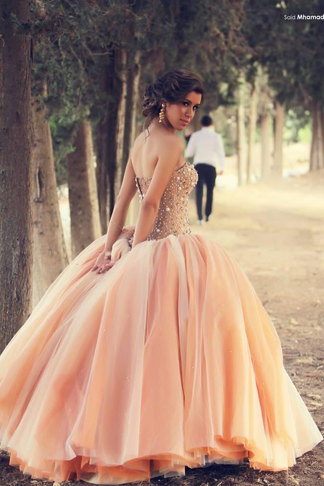 Luxury Pink Crystal Pearls Beaded Ball Gowns Strapless Glamorous ...