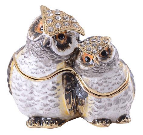 coruja bejeweled porta treco jóias dom decoração vintage ornamento estanho estatueta