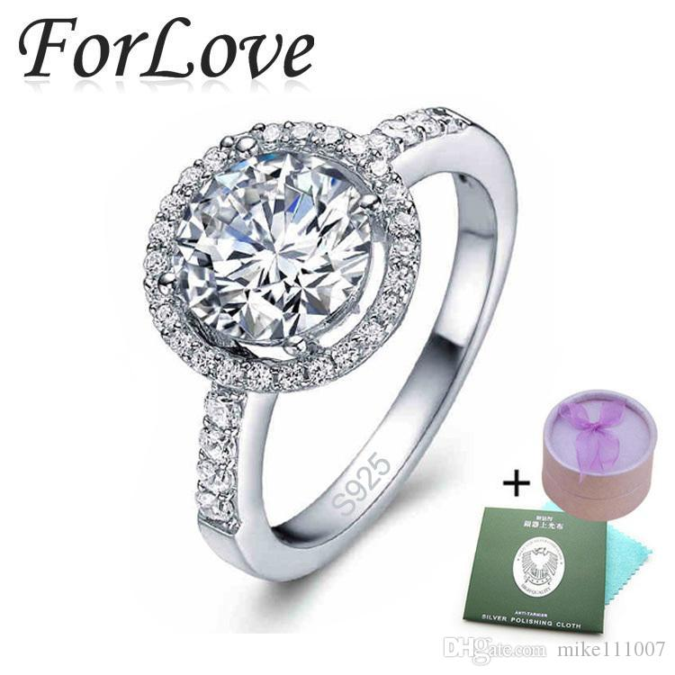 4 925 Sterling Silver Rings CZ Diamond for Women Wedding Engagement Brand Crystal Wholesale Jewelry anel aneis O 210