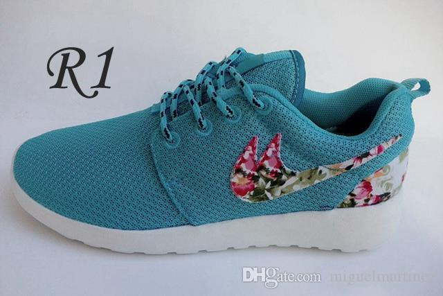 05a282e9e7166 ... 2015 Roshe Run Floral Flower Women And Men Running Shoes Fashion  Athletic Casual Sports Shoes Blue ...