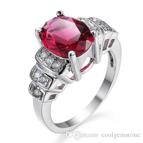 Regalo di giorno NUOVA retro ovale Fire Red Garnet Gemstone Luckyshine Madre di gioielli argento 925 anelli di cerimonia nuziale per le donne 12pcs