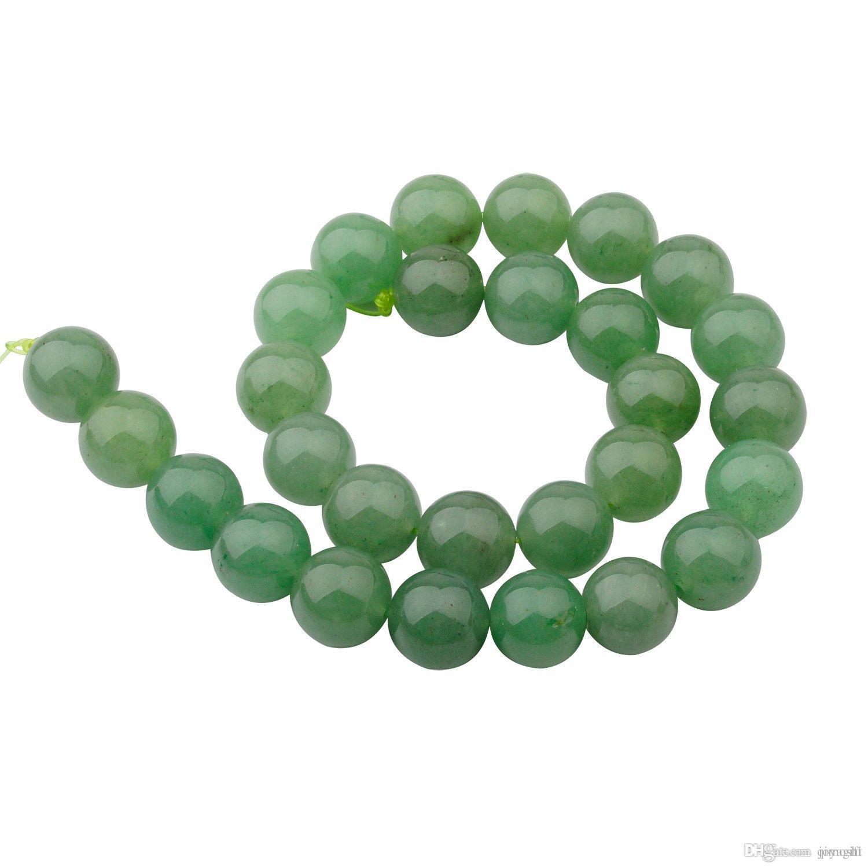 Natuurlijke edelsteen kristal 14mm Aventurine ronde kralen voor diy maken charme sieraden ketting armband losse 28 stks stenen kralen voor groothandel