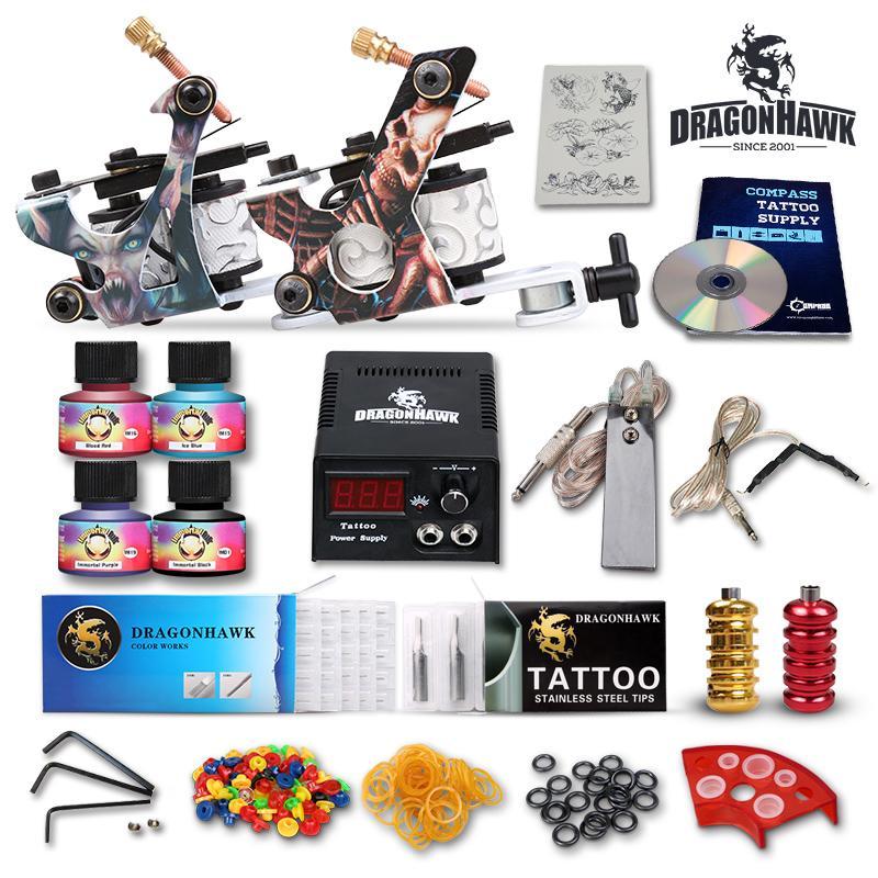 Tattoo Kit 2 Machine Gun USA (Immortal) 4 color inks Tip Power Supply Set Needles D53GD-10