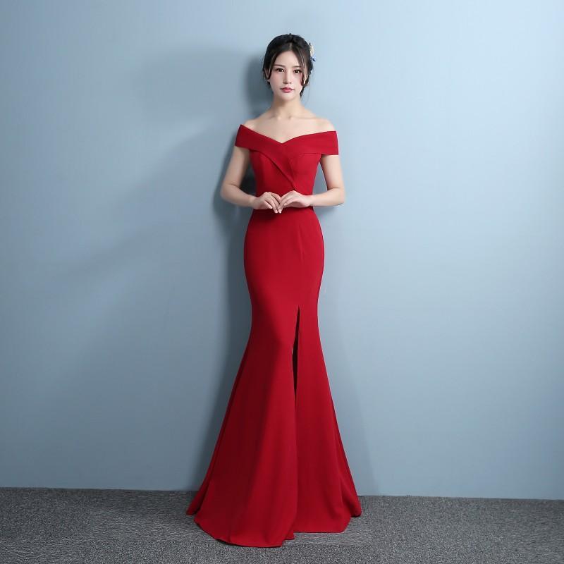 ae0d60fd9 Sirena diseñador 2018 vestidos de noche formales lado partido vestido de  fiesta rojo Vestidos de noche ...