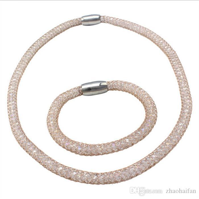 La chaîne de bijoux ZHF contient le collier de cristal serti de collier + bracelet en acier de précision suisse plaqué or 18 carats
