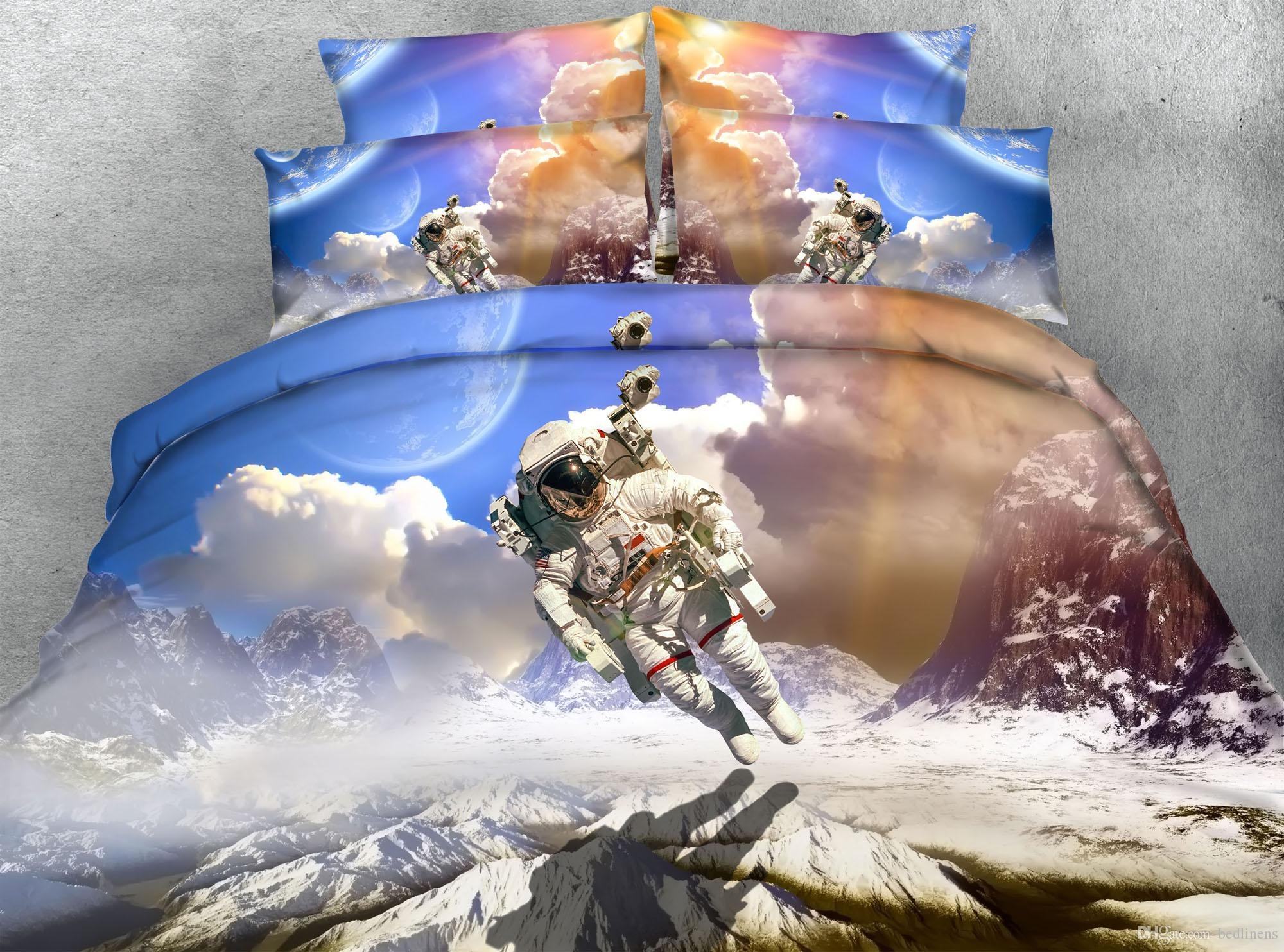 Landing Astronaut Dovet Cover Set Twin Full/Queen King Cal King Size Pillow Covers Bedspreads Cotton/Polyester Home Textiles Comforter Set