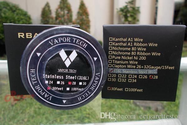 VaporTech 316L ss 와이어 본격적인 316l 스테인리스 와이어 30feet 22 24 26 28 30 32 게이지 DHL 무료 배송
