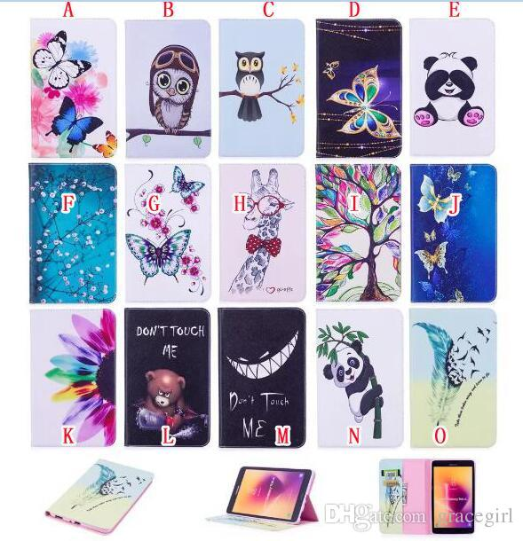 """For Samsung Tab A 8.0"""" 2017 T380 T385 Cartoon Panda Owl Stand Leather Case Flip Flower Wallet Pouch Butterfly Smart Cards Slot Cover 30pcs"""