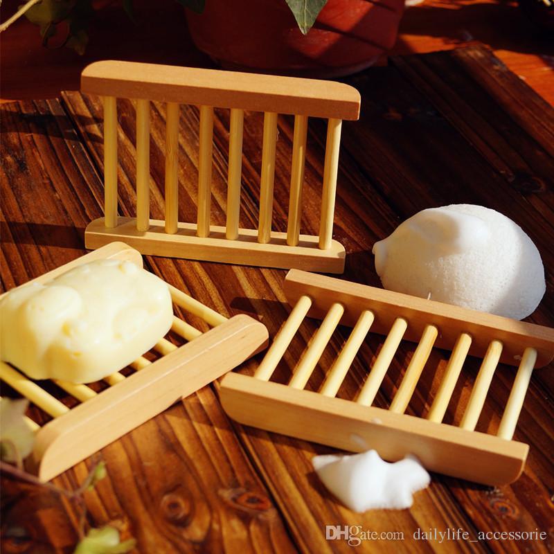 الخيزران الطبيعي خشبية صحن الصابون خشبية صحن الصابون حامل تخزين الصابون رف لوحة مربع حاوية للحمام دش الحمام