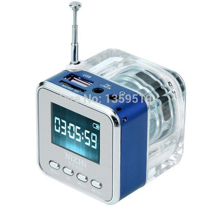 LED 크리스탈 미니 스피커 TT-029 LCD 디스플레이 MP3 / 4 음악 플레이어 지원 마이크로 SD / TF USB 디스크 FM 라디오 믹스 컬러 30pcs / lot