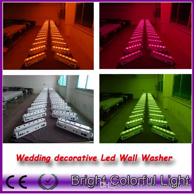 5 lights+1 fly case/lot RGBWAUV 6 IN 1 Led battery power wireless dmx wedding led up lights/wireless dmx led wall washer