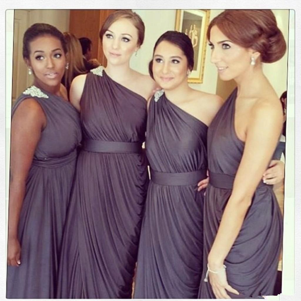 various kinds of excellent quality 100% satisfaction Dark Grey Bridesmaids Dresses 2016 One Shoulder Beaded Pleats Appliques  Tulip Mermaid Plus Size Women Long Formal Dress For Wedding Party Sage  Green ...