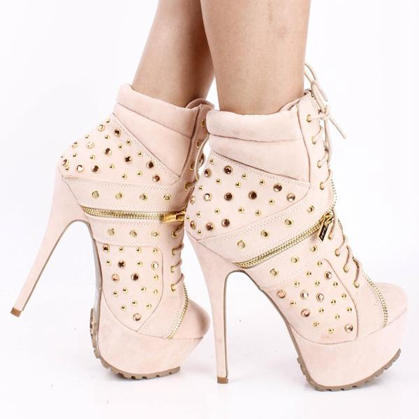 Handmade Fall Boots for Women Pumps Spiczaste palce Suede Długość kostki Boot Noga Zipper Rivet High Heel Shoes (Nude / Black 2 Kolory)