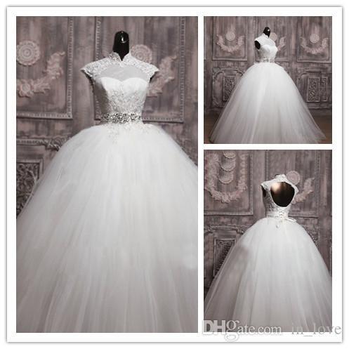 Nowa Elegancka Suknia Balowa Bubble Lace Up Suknie Ślubne Ograniczane Rękaw Bridal Vestidos De-Novia W1331 Długi Hollow Crystal Sash Real Image