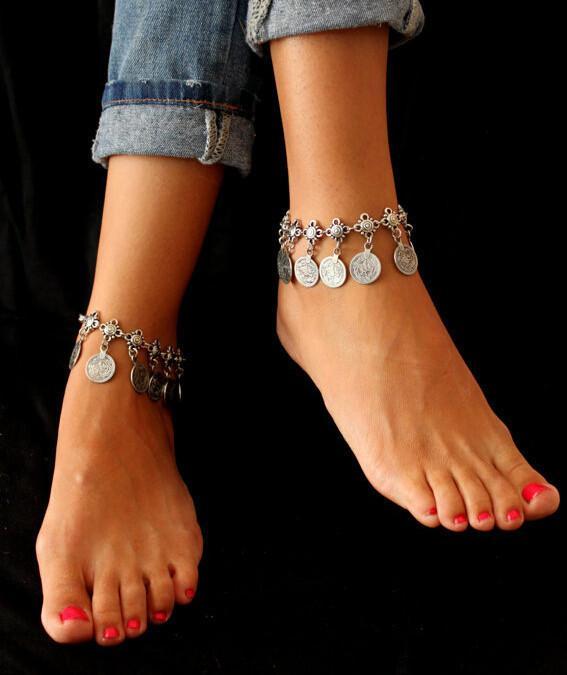 Gypsy plata antigua moneda turca tobillera pulsera de tobillo playa joyería étnica tribales Festival