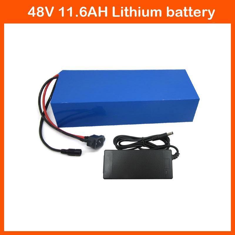 Frete grátis 48 V 11.6AH bateria de Bicicleta Elétrica 750 W 48 V Bateria De Lítio Íon Uso Panasonic NCR18650PF Celular com 2A carregador