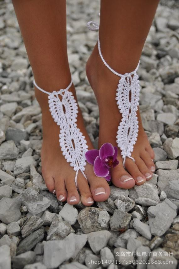 Beach wedding White Crochet wedding Barefoot Sandals Hollow Nude shoes Foot Lace Anklet Cheap Free Shipping