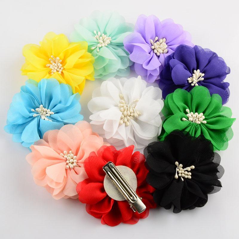 Heiße neue Blumen-Klipp 100pcs / lot 20 Farben 2,76 Zoll Boutique Artificial Chiffon Blumen mit Clip für Baby-Haar-Beauty-Zubehör