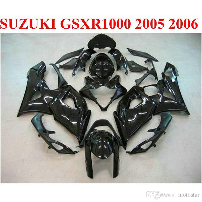 ABS мотоцикл обтекатели для SUZUKI GSXR1000 05 06 обвесы K5 K6 GSXR 1000 2005 2006 все глянцевый черный обтекатель комплект ND4
