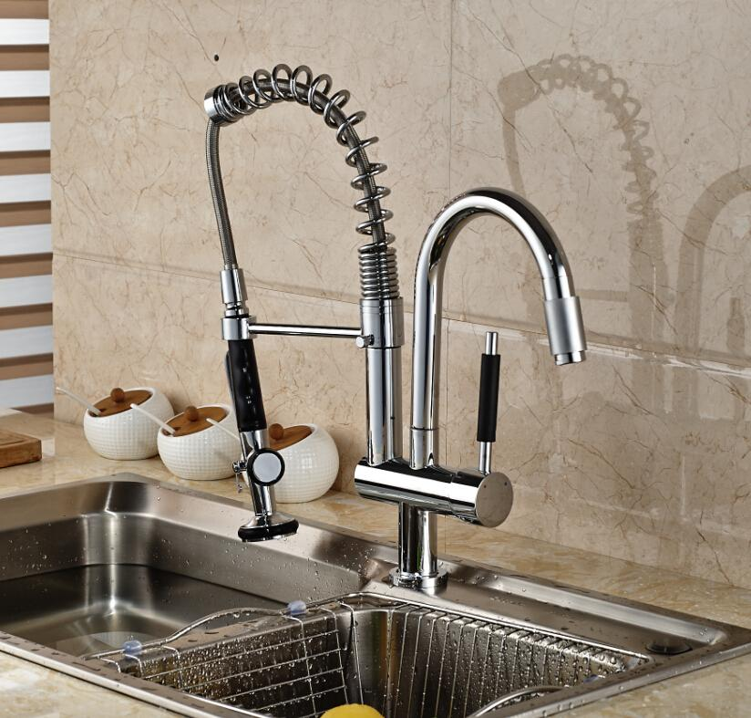 2018 !luxury Chrome Brass Kitchen Faucet Dual Sprayer Vessel Sink ...