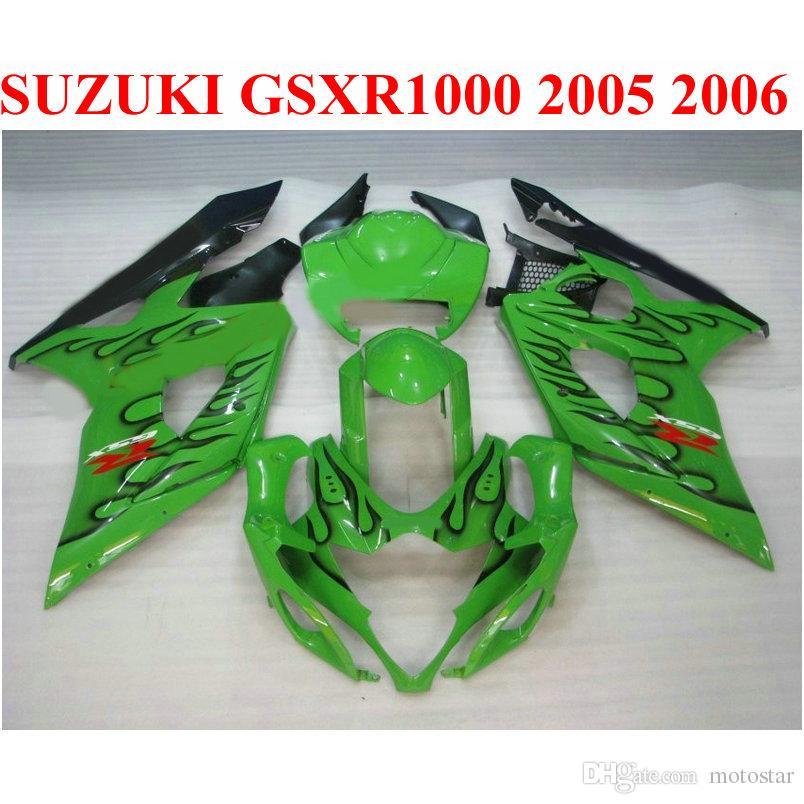 Идеально подходит для SUZUKI 2005 2006 GSXR 1000 K5 K6 пластиковый обтекатель комплект GSX-R1000 05 06 gsxr1000 черный пламя зеленый обтекатели комплект QF50