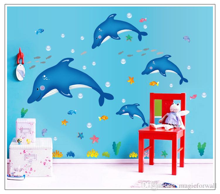 cute little dolphin wall art mural decal sticker kids babies room - Kids Wall Decor