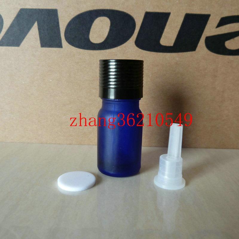 푸른 젖빛 유리 에센셜 오일 병 5ml 반짝이는 검은 색 알루미늄 캡. 오일 바이알, 에센셜 오일 용기