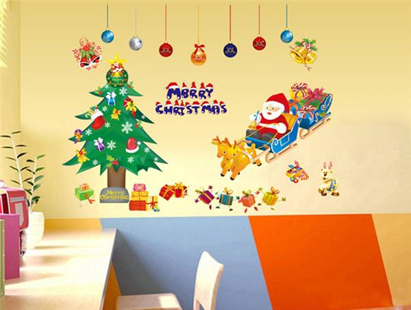 Wallpaper Wall Paper Stickers Merry Christmas Xmas Tree Santa Claus ...