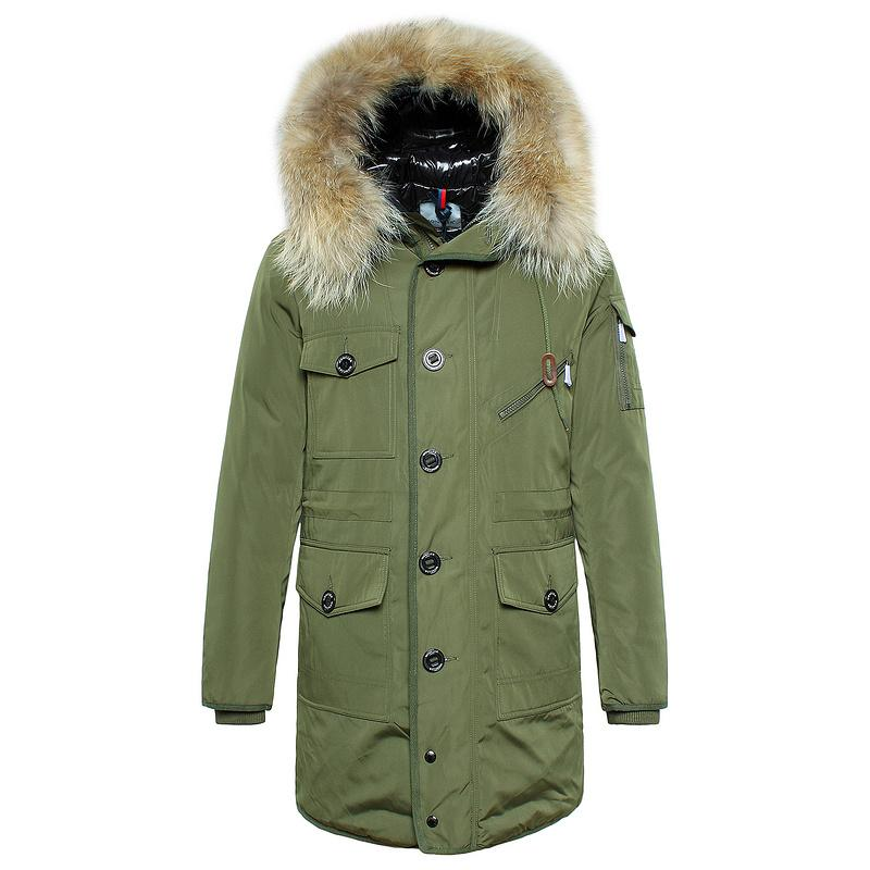 Mens Green Parka With Fur Hood