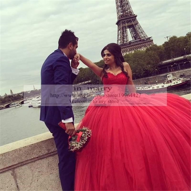 Romantic Red Ball Gown Wedding Dresses 2016 Vintage Lace Plus Size ...