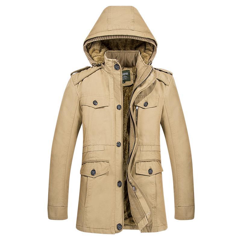 Vente en gros - Trench-Coat à capuche hommes manteau longues vestes en coton parka épais polaire hiver mens manteau décontracté masculin coupe-vent M-6XL grande taille